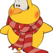 Chicken with a scarf cartoon — Stockvektor