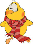 Chicken with a scarf cartoon — ストックベクタ