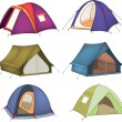 Set of tourist tents - Imagen vectorial