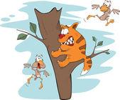 Cat on a tree and birds. Cartoon — Stock Vector