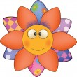 Stock Vector: Happy cartoon flower, sun, soft toy