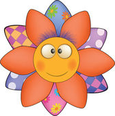 Happy cartoon flower, sun, soft toy — Stock Vector