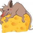 Rat and cheese piece cartoon — Stock Vector