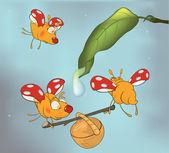 Lieveheersbeestjes en dauw. cartoon — Stockvector