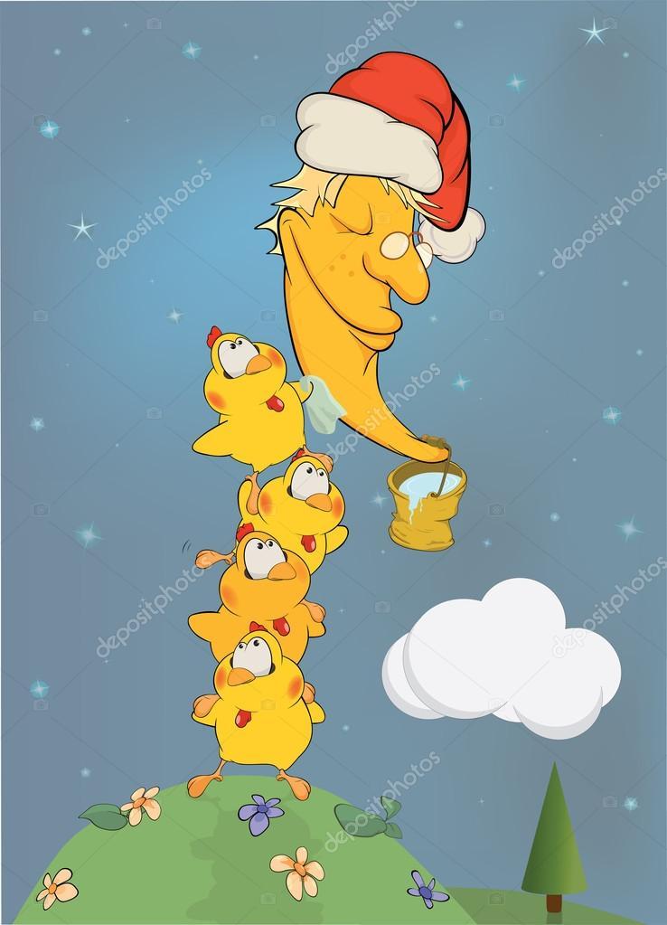 鸡清洁月亮.卡通 — 图库矢量图片