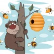 Bear cub and bees. Cartoon - Stock Vector