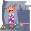 Royalty-Free Stock Vector Image: Crybaby The girl and toy rabbit