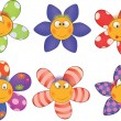 Cheerful small flowers. Cartoon - Stok Vektör