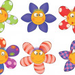 Cheerful small flowers. Cartoon - Stock Vector