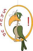 A parrot with a tied up beak. Cartoon — Stock Vector
