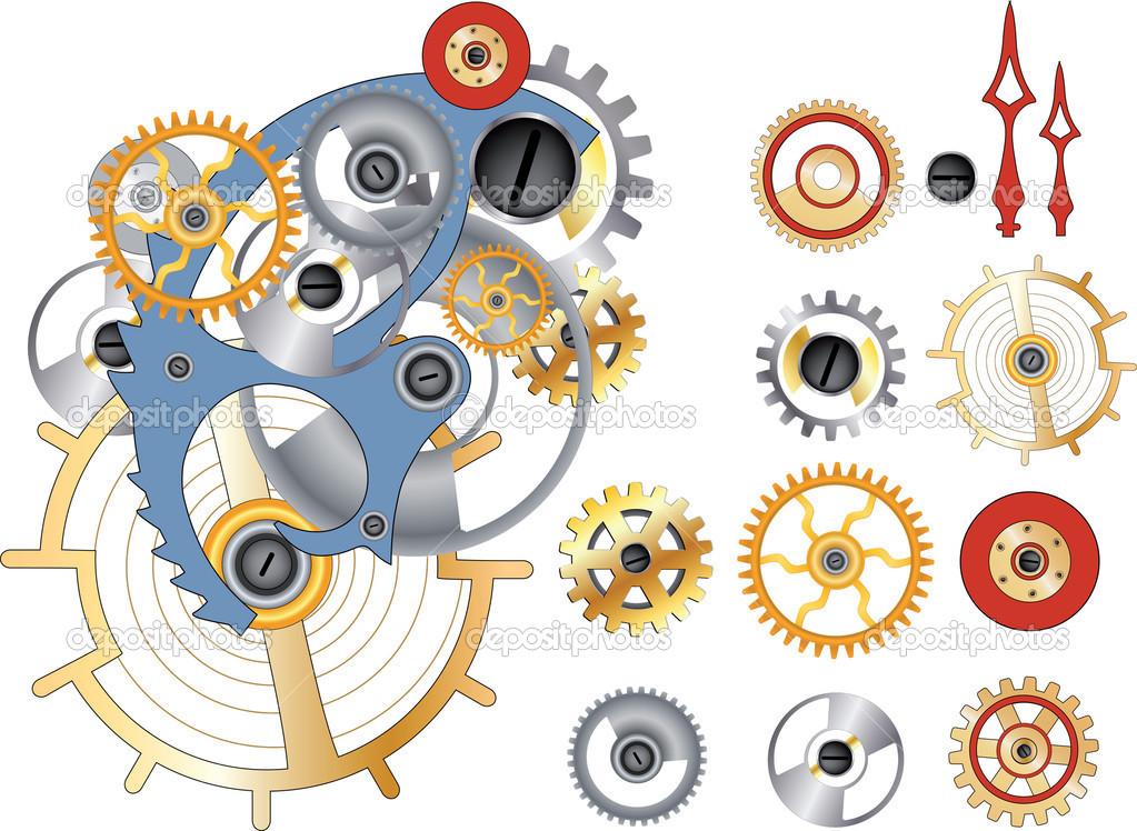 齿轮和机制 — 图库矢量图片