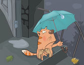 Cat and an autumn rain. Cartoon — Stock Vector