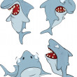 Sharks. Cartoon — Stock Vector