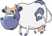 Happy blue cow. Cartoon — Stock Vector