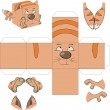 Stock Vector: Cat cube. Toy for assemblage