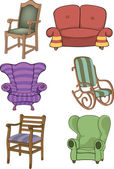 Set of chairs and armchairs — Stock Vector