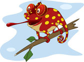 Big red Chameleon cartoon — Stock Vector