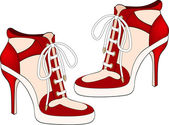 Red female shoes isolated on white — Stock Vector