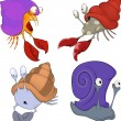 Stock Vector: Set of secrabs and snails cartoon