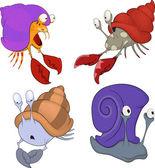 Conjunto de desenhos animados de caranguejos e caracóis do mar — Vetor de Stock