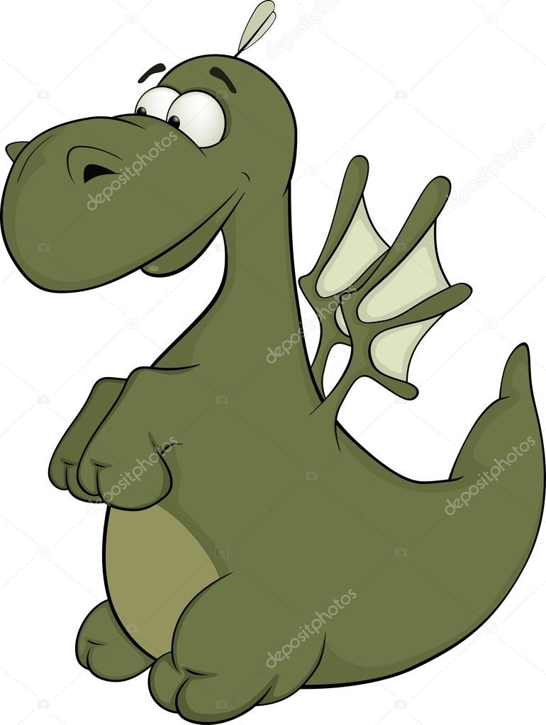 Piccolo drago verde cartone animato — vettoriali stock