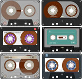 The complete set of the different Audio Cassettes Tapes — Stock Vector