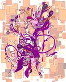 Abstraktní fialový vzor s květinami — Stock vektor
