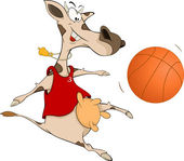 Cow the basketball player cartoon — Stock Vector