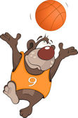 Bear the basketball player cartoon — Stock Vector