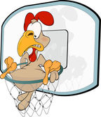 Cockerel the basketball player. Cartoon — Stock Vector