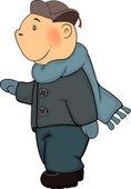 A boy in a winter coat and a cap cartoon — Stock Vector
