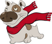 Dog with a red scarf. — Stock Vector