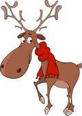 Christmas deer cartoon — Stock Vector