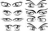 Komplett uppsättning av ritade ögon — Stockvektor