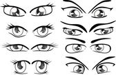 The complete set of the drawn eyes — Cтоковый вектор