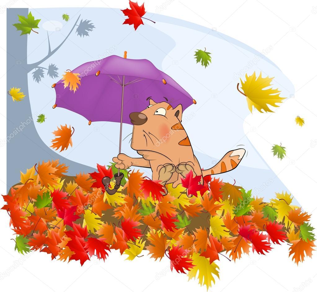 Cat l 39 automne et une feuille d 39 automne dessin anim - L automne dessin ...