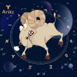 Zodiac signs. Aries. Cartoon — Vetorial Stock #34654749