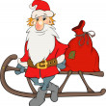 Santa Claus and Christmas gifts cartoon — Stock Vector
