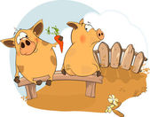 Two pigs — Stock Vector