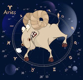 Zodiac signs. Aries. Cartoon — Stock Vector