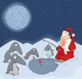Santa Claus and penguins cartoon — Stock Vector
