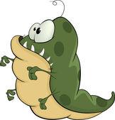 Green monster. Cartoon — Stock Vector