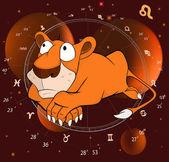 Zodiac signs. Lion. — Stock Vector