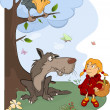 The Wolf and the Little Red Riding Hood cartoon — Stok Vektör