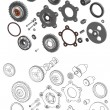 Stock Vector: The complete set mechanisms and gears