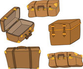 The complete set of old suitcases — Wektor stockowy