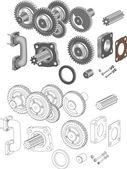 Die komplette set mechanismen und getriebe — Stockvektor