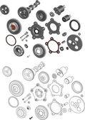O completos conjunto de mecanismos e engrenagens — Vetorial Stock