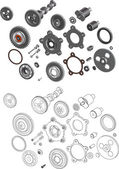 The complete set mechanisms and gears — Vector de stock