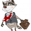 Stock Vector: Raccoon office clerk cartoon